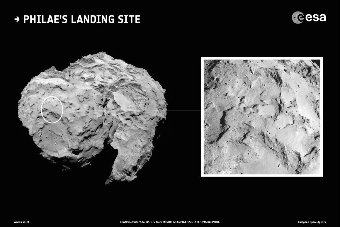 Landing site J (pictured on the right) has been selected as Philae's primary landing site (Image: ESA/Rosetta/MPS for OSIRIS Team MPS/UPD/LAM/IAA/SSO/INTA/UPM/DASP/IDA)