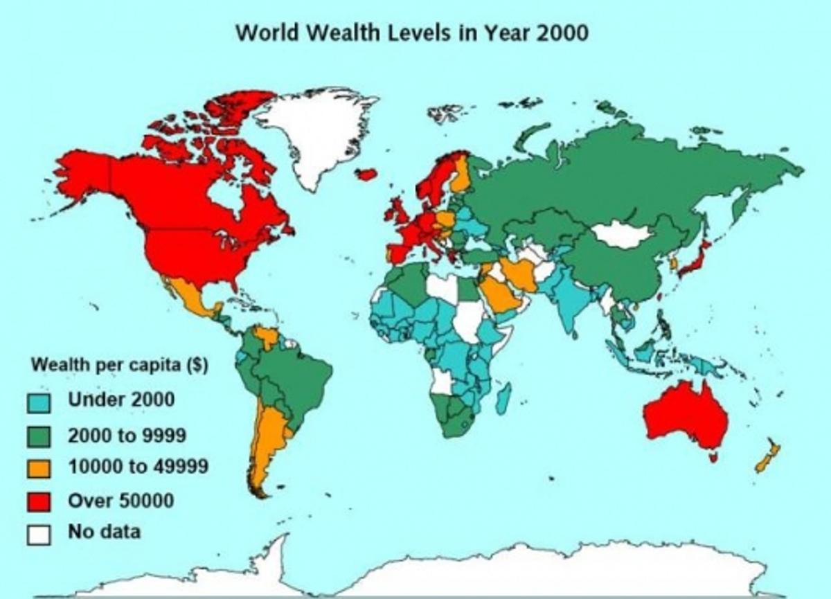 Figure 1 - World Wealth Levels in Year 2000