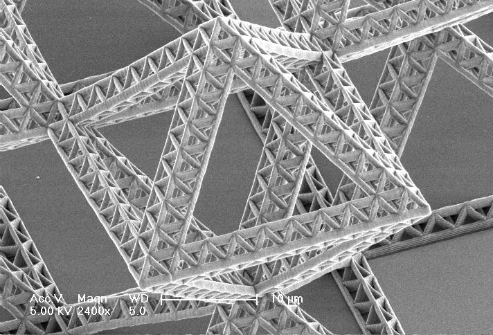 The fractal nanostructure allows for even more flexibility in choosing the material's properties (Photo: Meza/Montemayor/Clarke/Greer at Caltech)