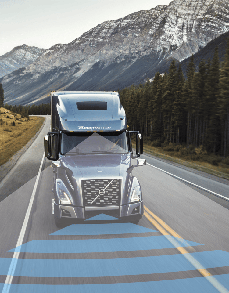 Acamera- and radar-based safety system looks forward up to 500 feet to locate potential objects in a collision warning and mitigation system that is standard in the new Volvo VNL