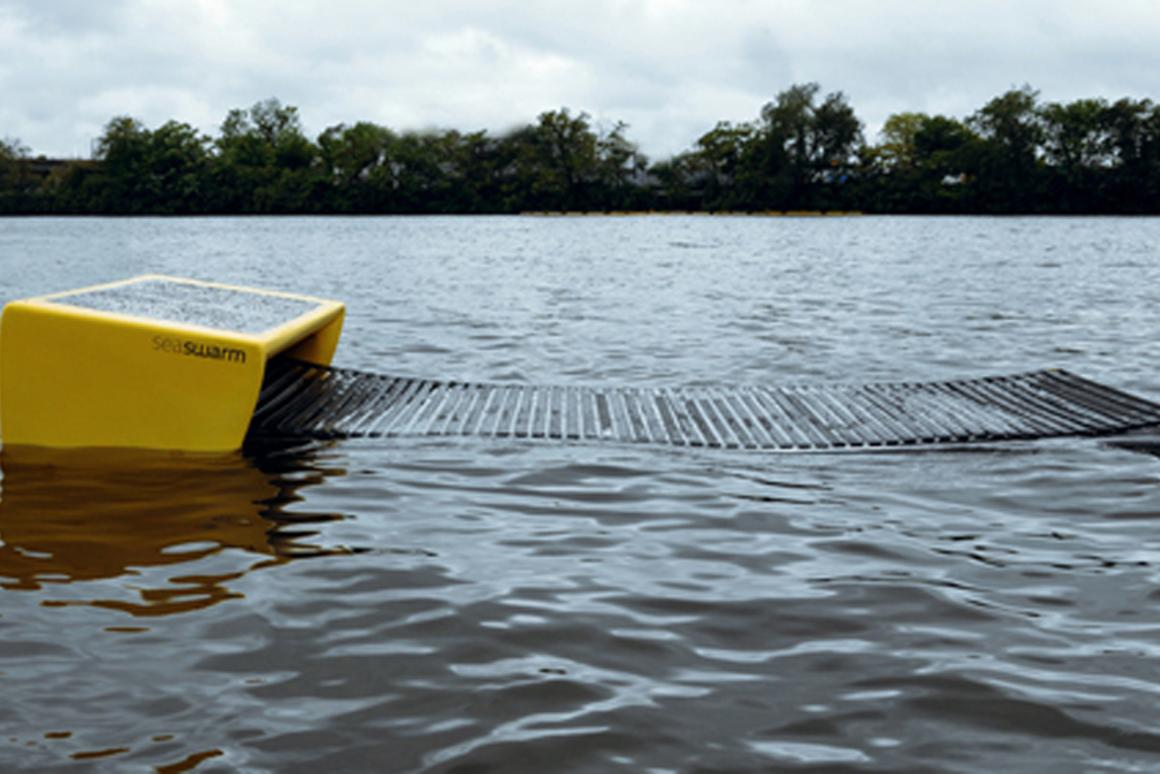 The first Seaswarm prototype being tested in the Charles River in mid-August 2010 (Image: Senseable City Lab)