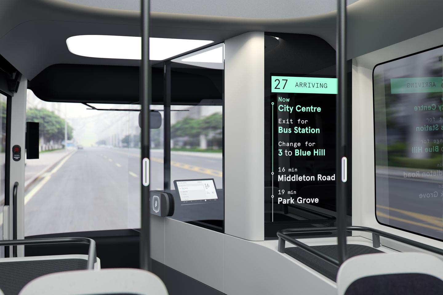 A sleeker, more tech-forward bus design enhances the rider experience