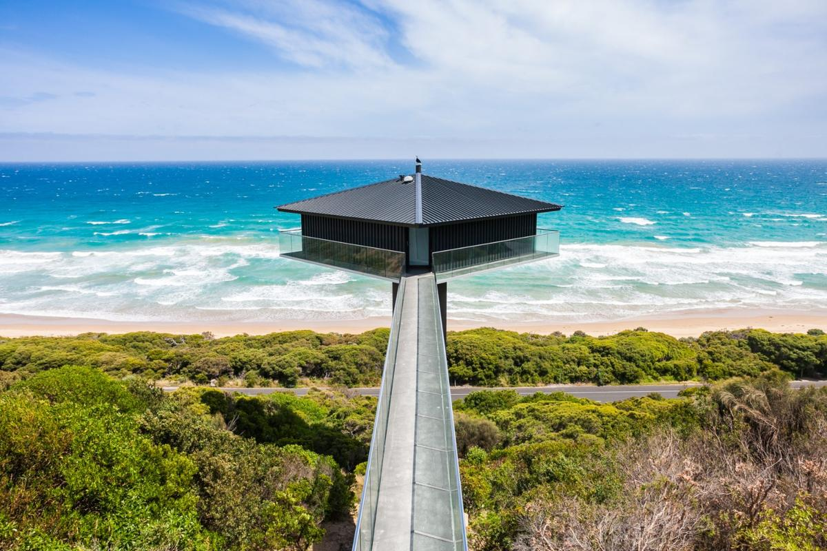 The Pole House is one of Australia's most iconic houses, found along the Great Ocean Road off the south coast of Victoria. Originally built in the 1970s, and recently renovated, the house has survived three major bushfires and is currently available to the public for short-term holiday rentals