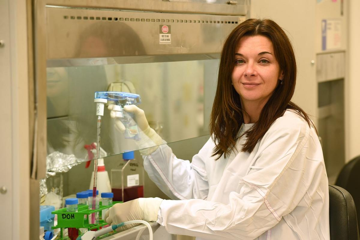 Associate Professor Katherine Kedzierska, part of the team that made the flu-immunity discovery, at work in the University of Melbourne lab