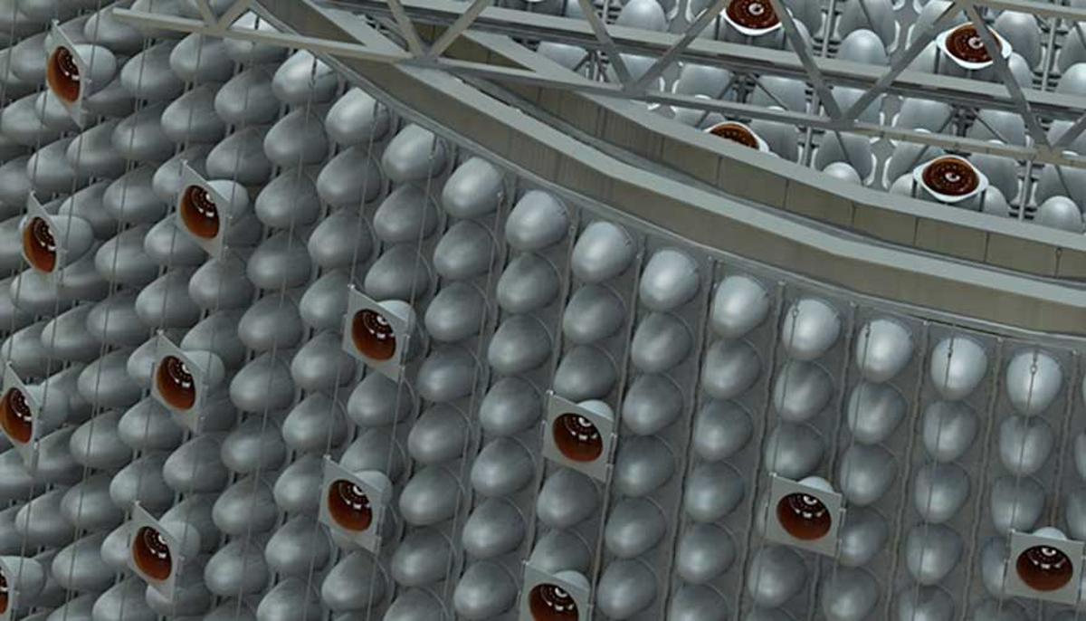 Detail of a possible configuration of the photomultiplier tube mounting structure for the WATCHMAN antineutrino detector