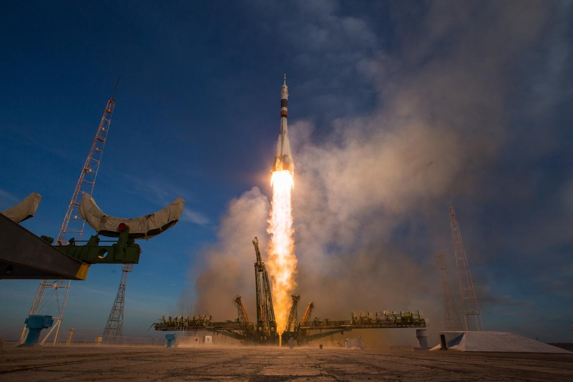 Soyuz MS-10 launches the Soyuz MS-11 spacecraft from the Baikonur Cosmodrome in Kazakhstan