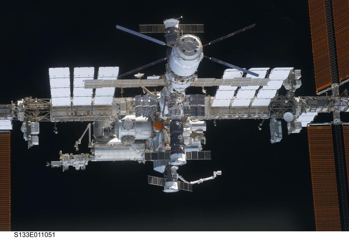 The International Space Station, with Soyuz-TMA capsules visible (Image: NASA)