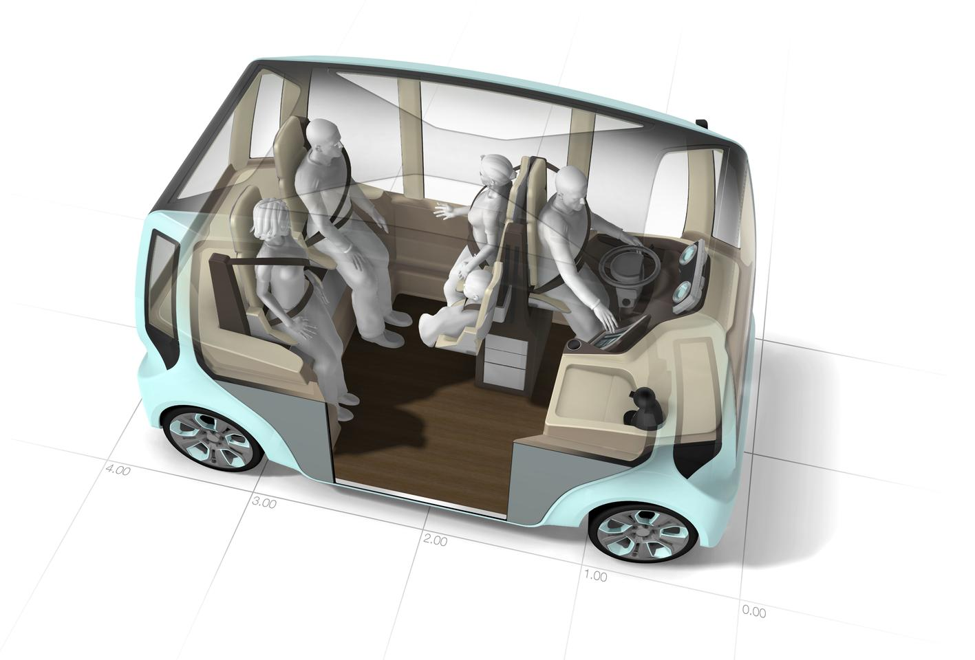 The Rinspeed microMAX concept, with its semi-standing passengers