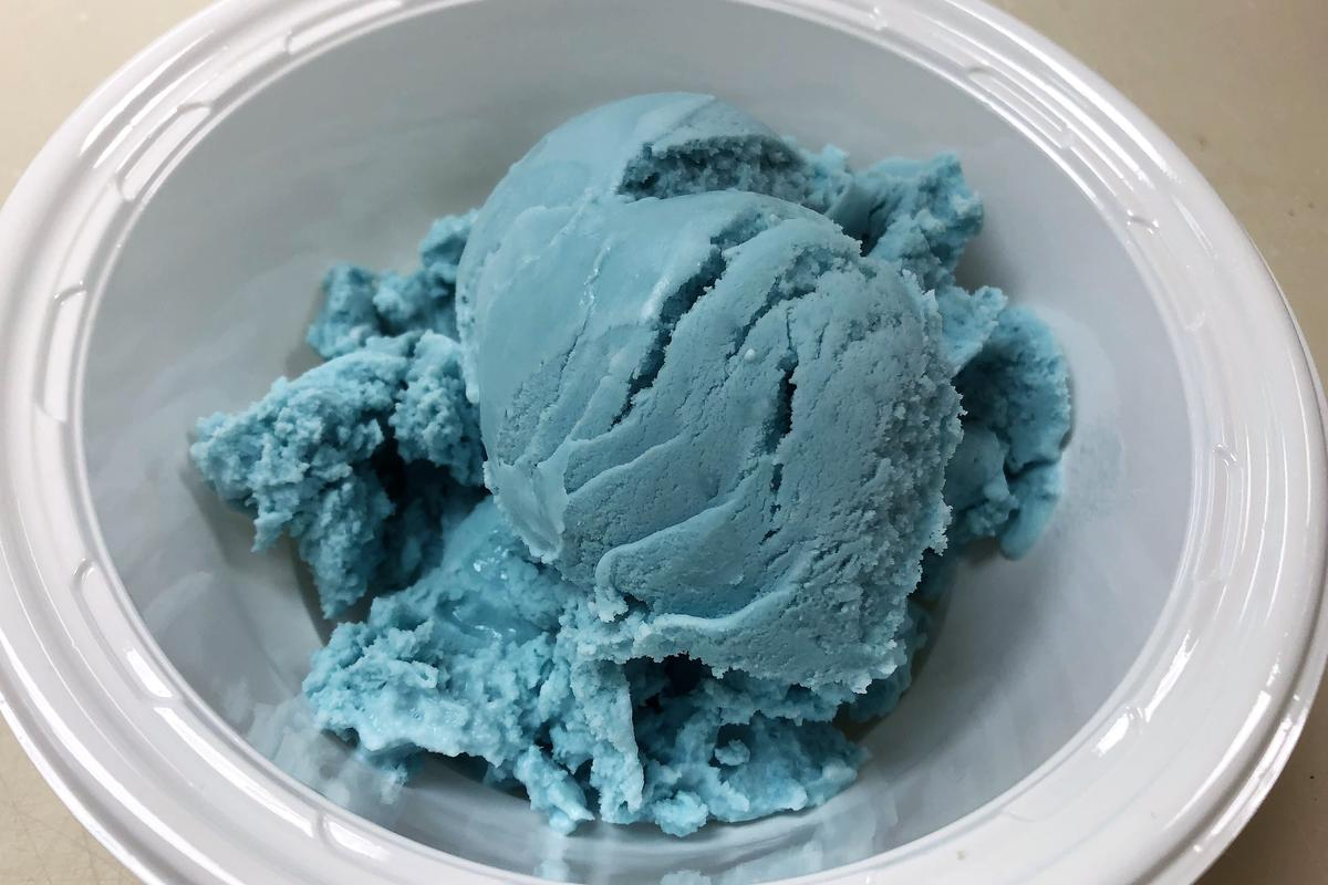 Ice cream colored with the new natural brilliant blue food dye