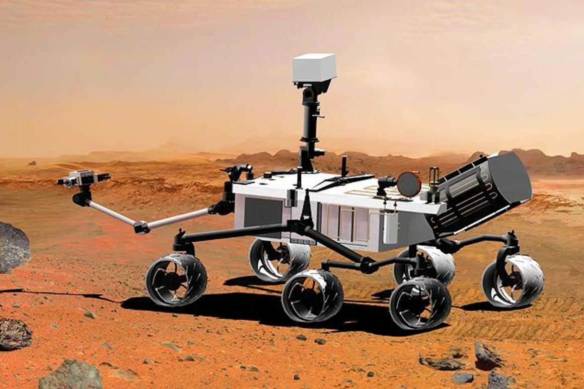 The Mars rover is powered by radioactive thermoelectric generator (dark cylinder on rear) (Photo: NASA)