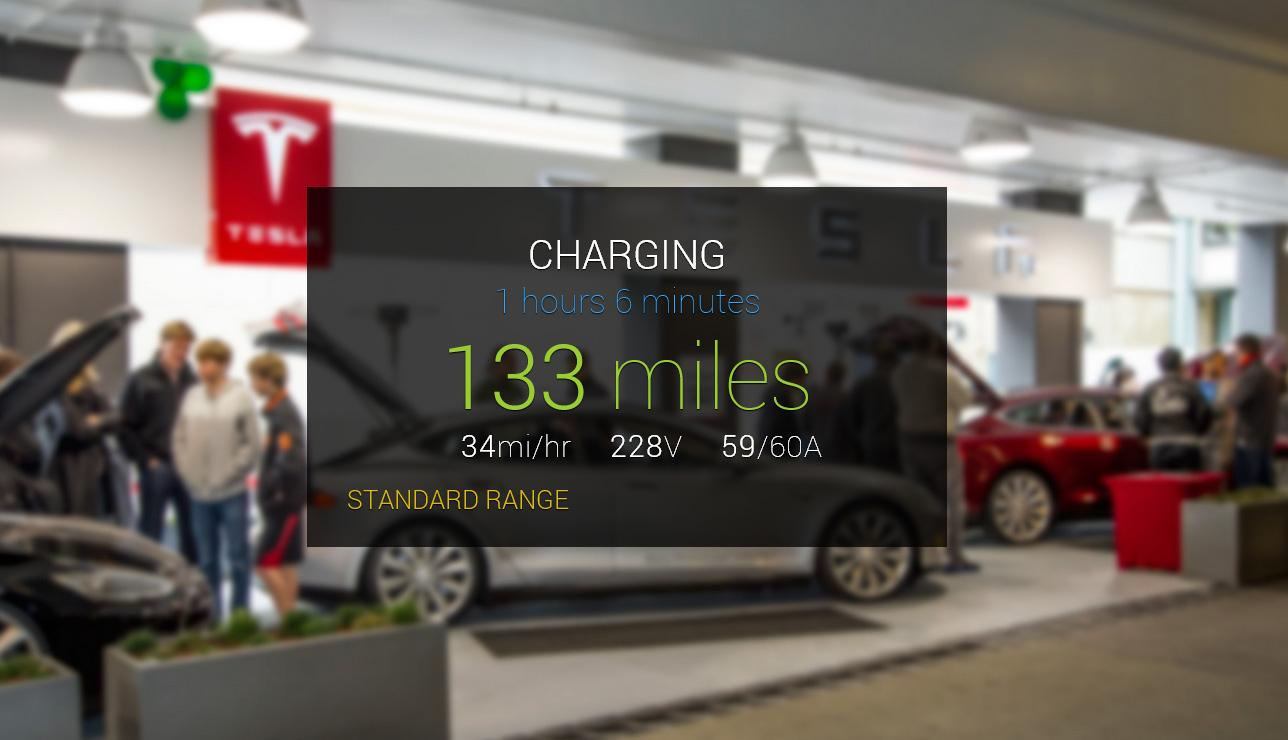 The GlassTesla app provides real-time charging information allowing owners to turn off or on the system via Glass