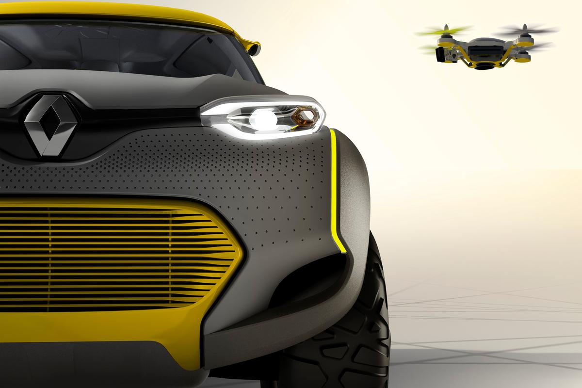 KWID's Flying Companion acts like a recon drone in auto mode or can be manipulated from inside the cabin via a dash-mounted tablet
