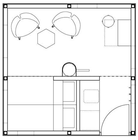 The Mirrorcube's floor plan
