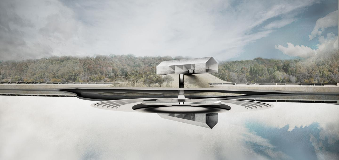 """Other Architects' concept for the Australian Prime Minister's official residence, called """"A House That Floods"""""""