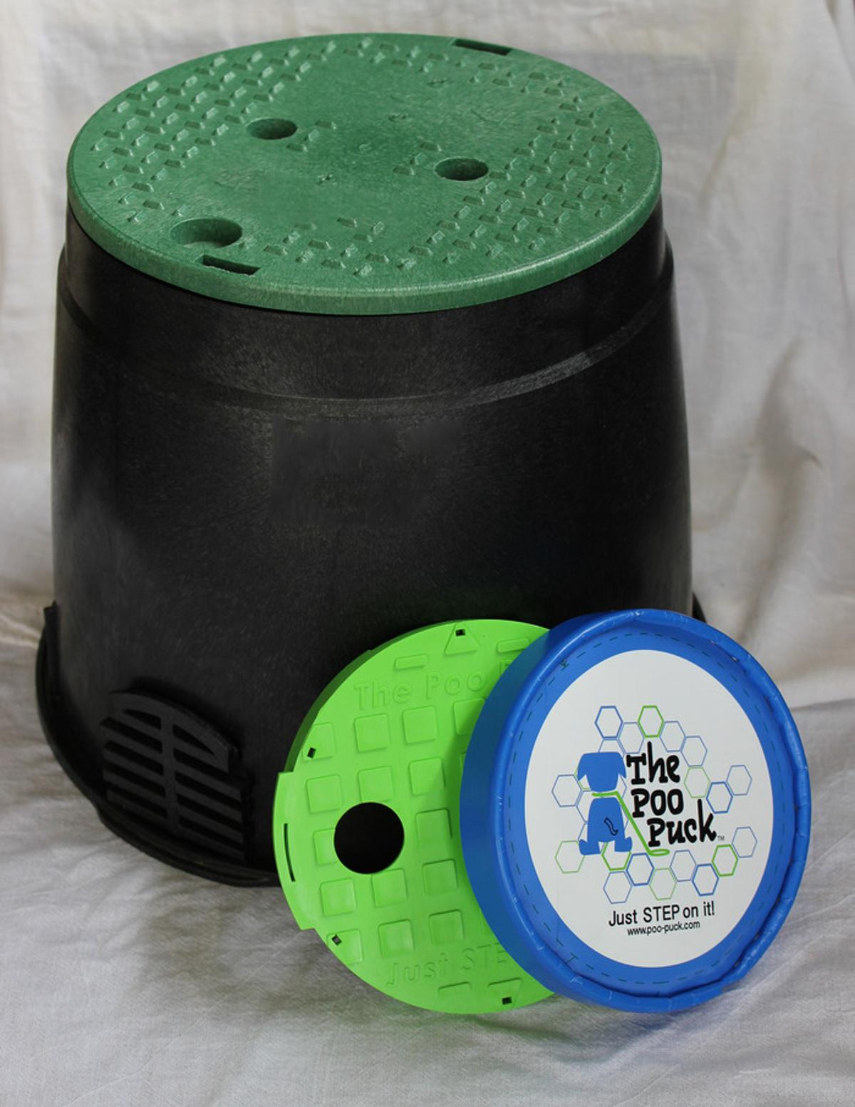 The Poo Puck and Poo Bin are designed to help clean up doggy do dos
