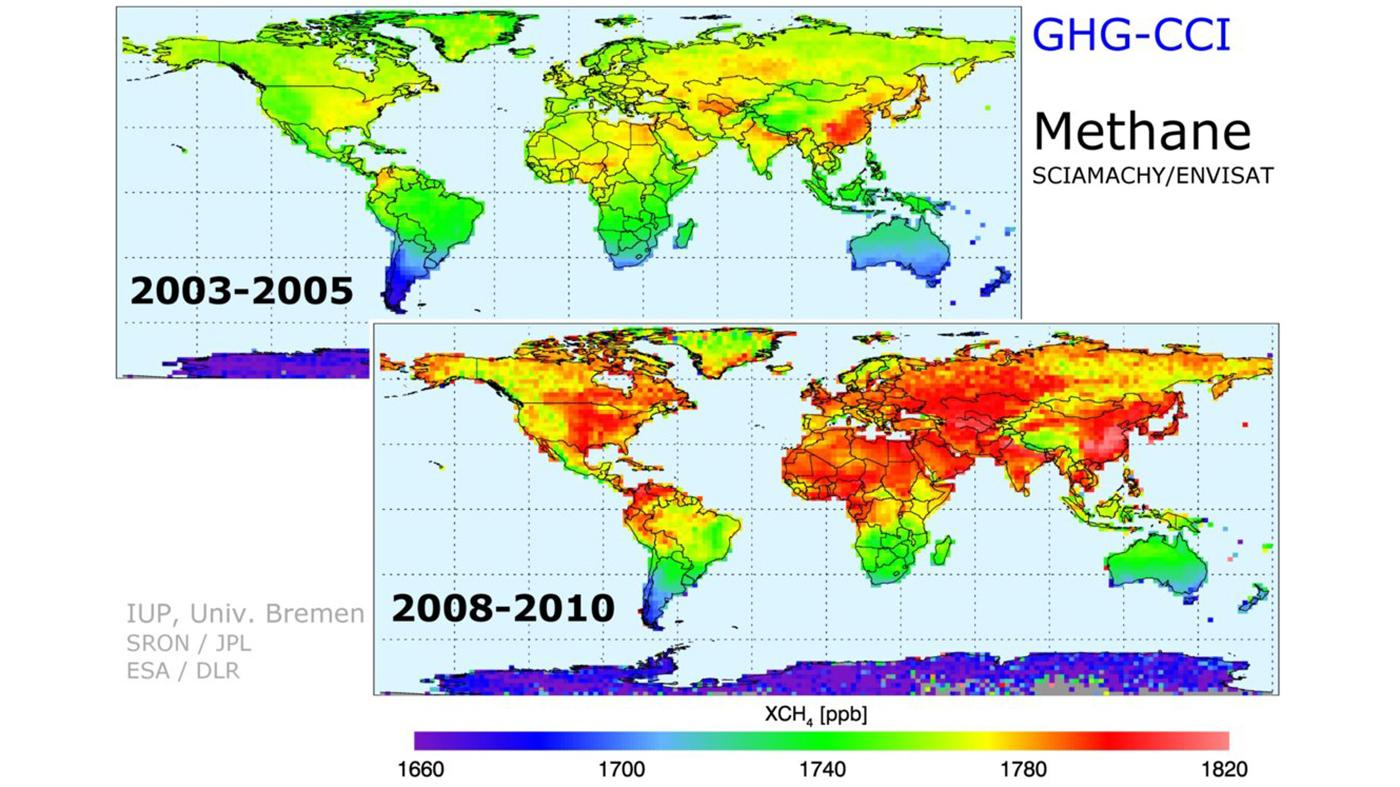 The collected data shows a steady increase in carbon dioxide and methane