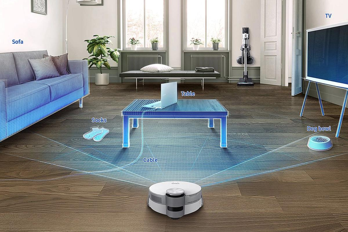 The Jet Bot AI+ maps rooms using LiDAR, and uses a combination of 3D depth camera and Intel AI to detect and recognize objects