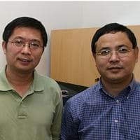 USC College associate professor Lin Chen, left, and Keck School associate professor Zuo-Zhong Wang worked on the nicotine study with research associate Cosma Dellisanti,