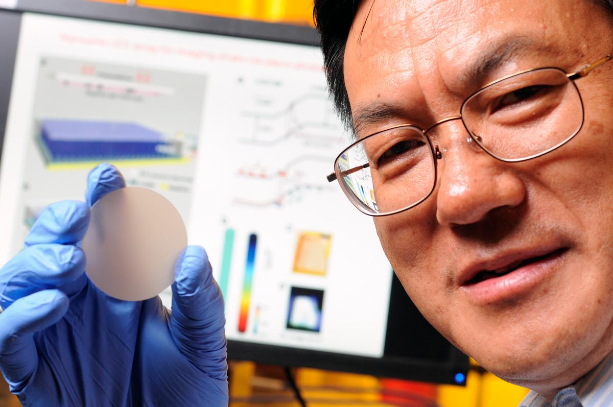 Prof. Zhong Lin Wang with one of the piezo-phototronic LED arrays