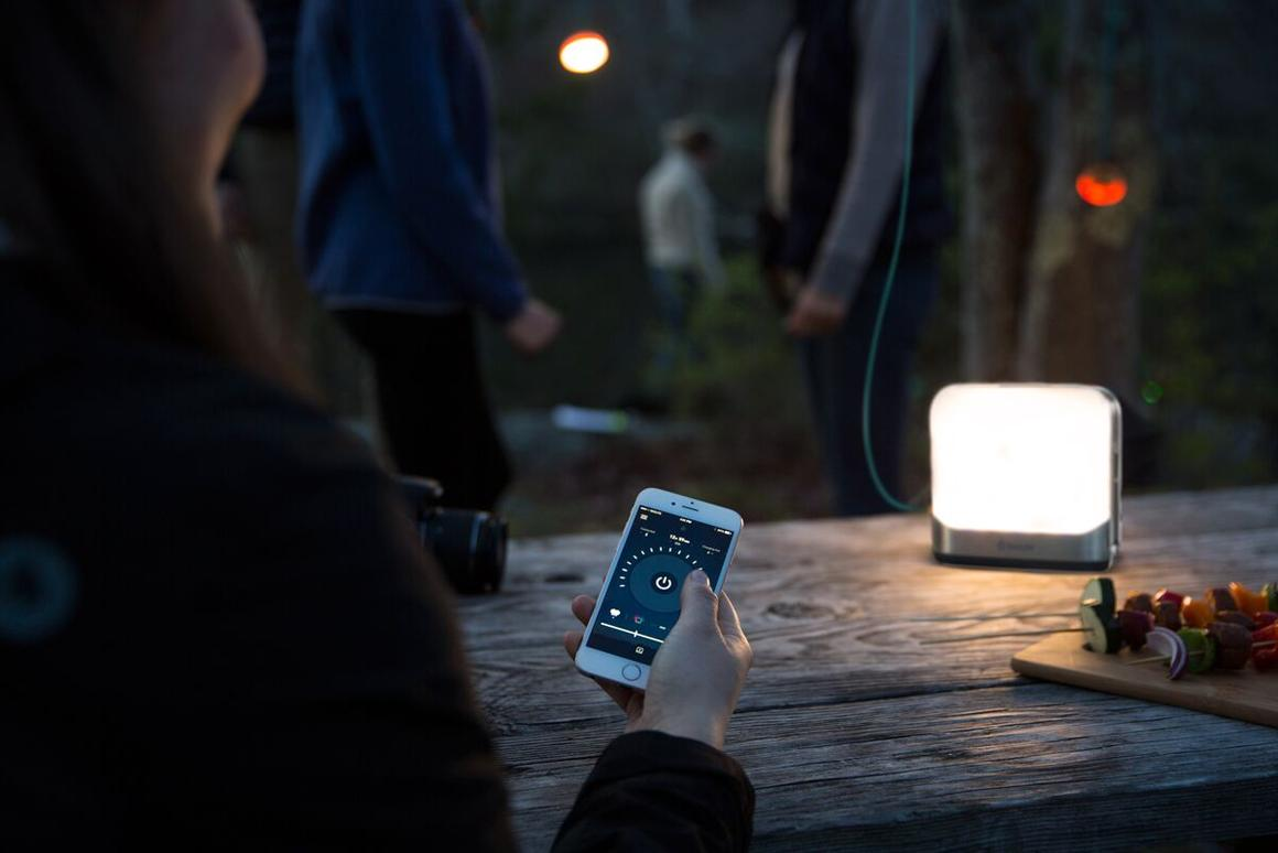 The portable BaseLantern from BioLite can be controlled with Bluetooth or via buttons on the light itself