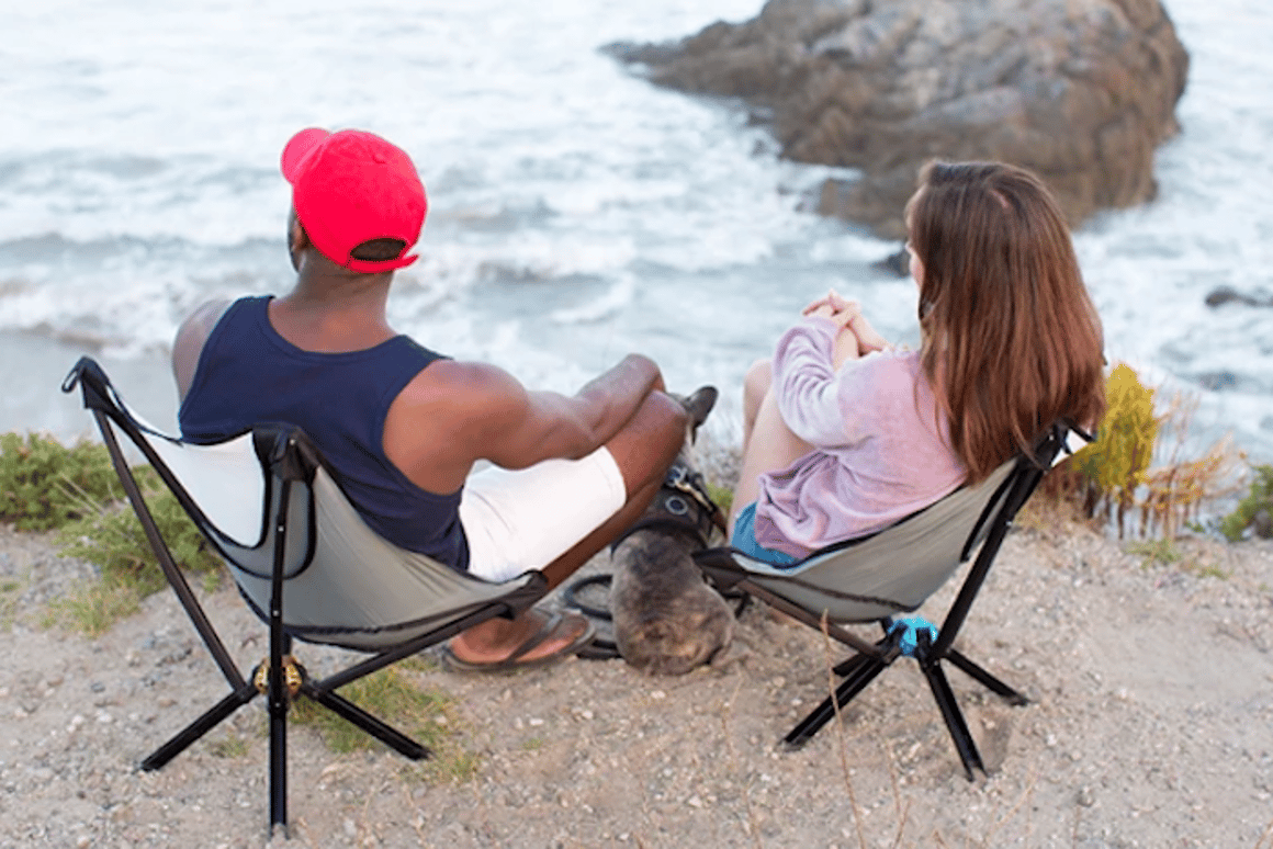 The Go Chair is a camping chair that folds up to the size of a water bottle