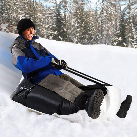 Hammacher Schlemmer's Bean Bag Sled is designed to provide a soft ride
