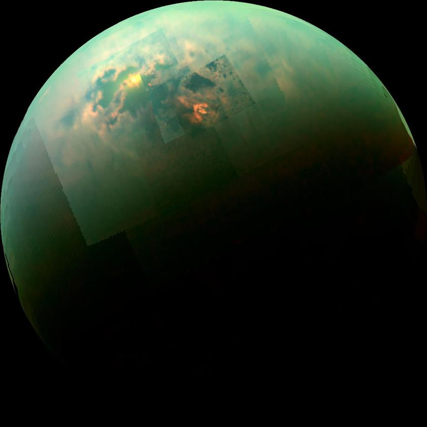 Anear-infrared, color mosaic from NASA's Cassini spacecraft shows the sun glinting off of Titan's north polar seas