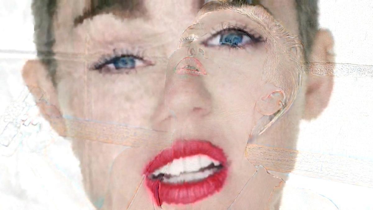 Video still fromMatt Caron's datamoshed Miley Cyrus