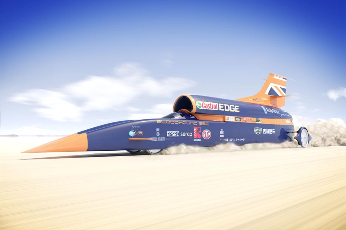The Bloodhound SSC, depicted making a record attempt in South Africa