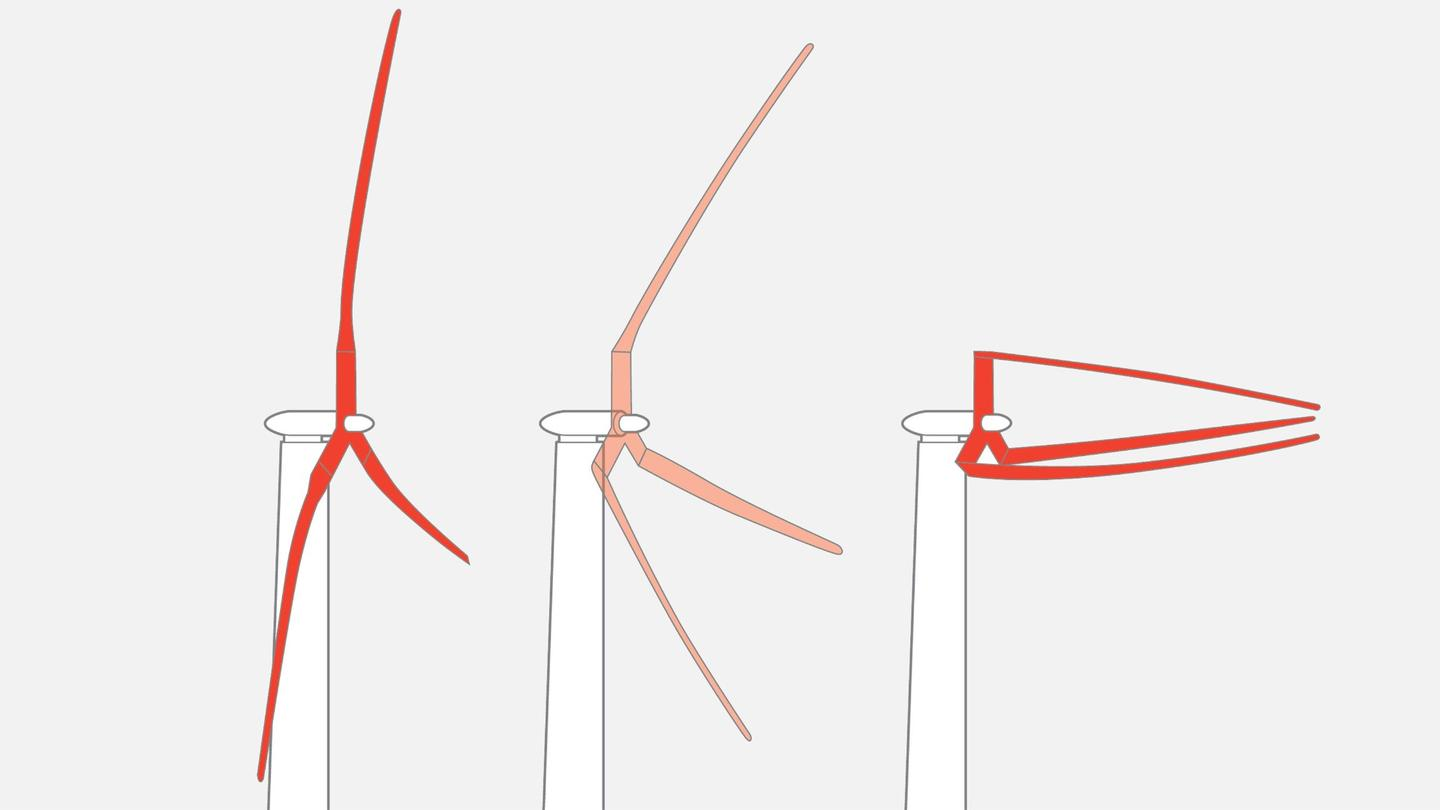 The huge wind turbines are designed to fold up to avoid taking damage in high winds