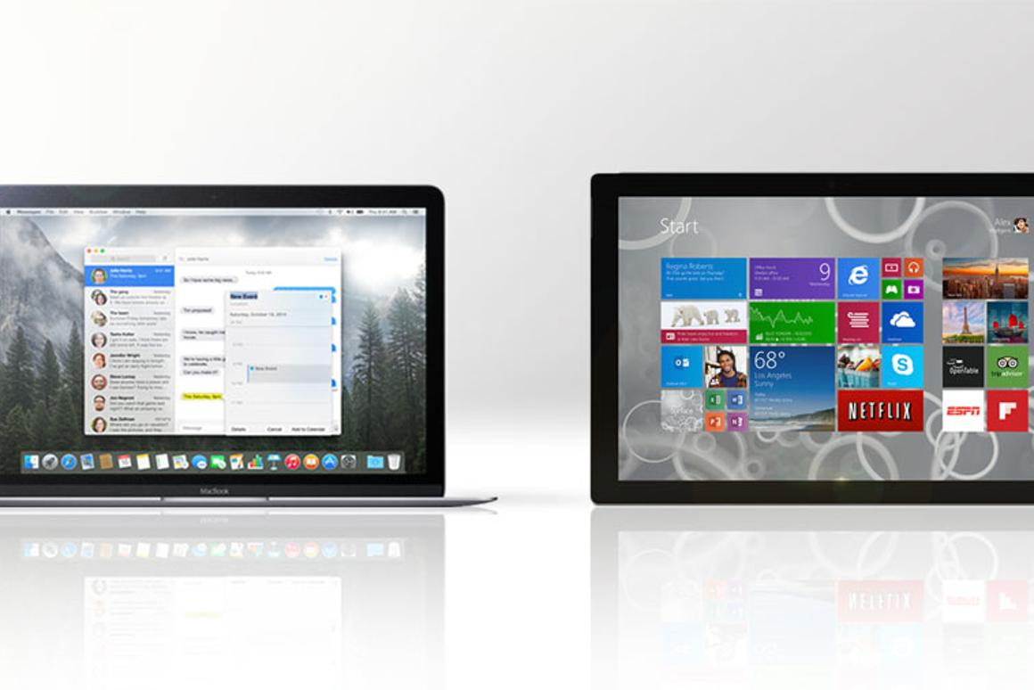 Gizmag compares the features and specs of Apple's new 12-in MacBook (left) vs. the Microsoft Surface Pro 3