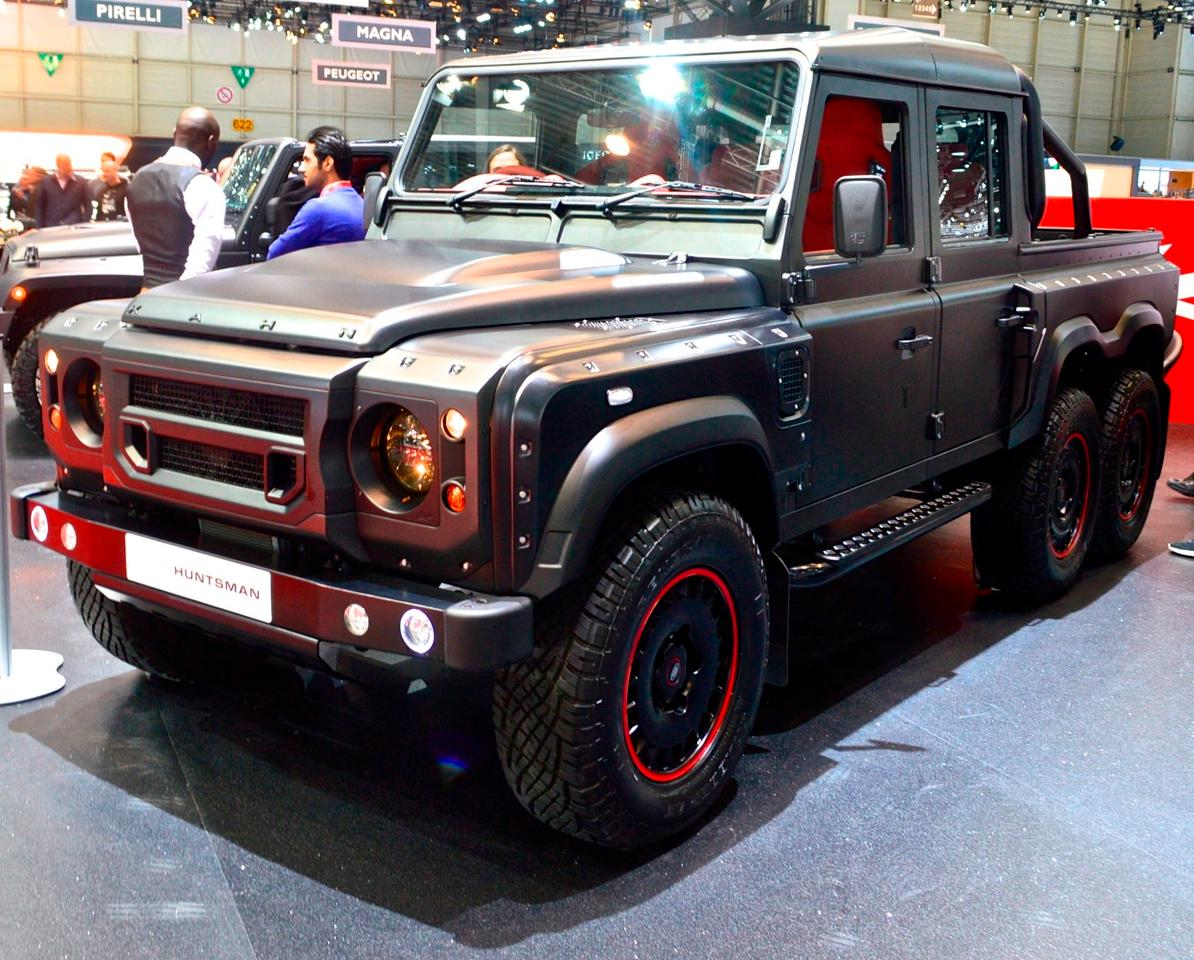 Land Rover shows the Flying Huntsman 110 Double Cab 6x6 Pick Up at the 2016 Geneva Motor Show