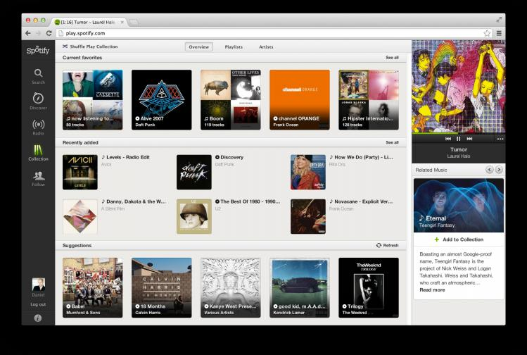 The Collection tab presents a much neater way of organizing your music