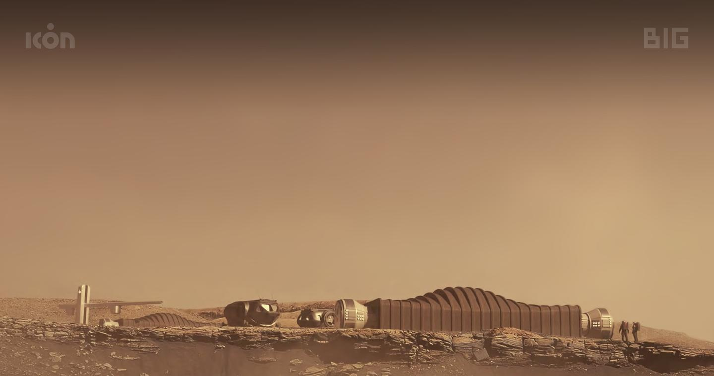 A render depicting what a future 3D-printed Mars base could look like