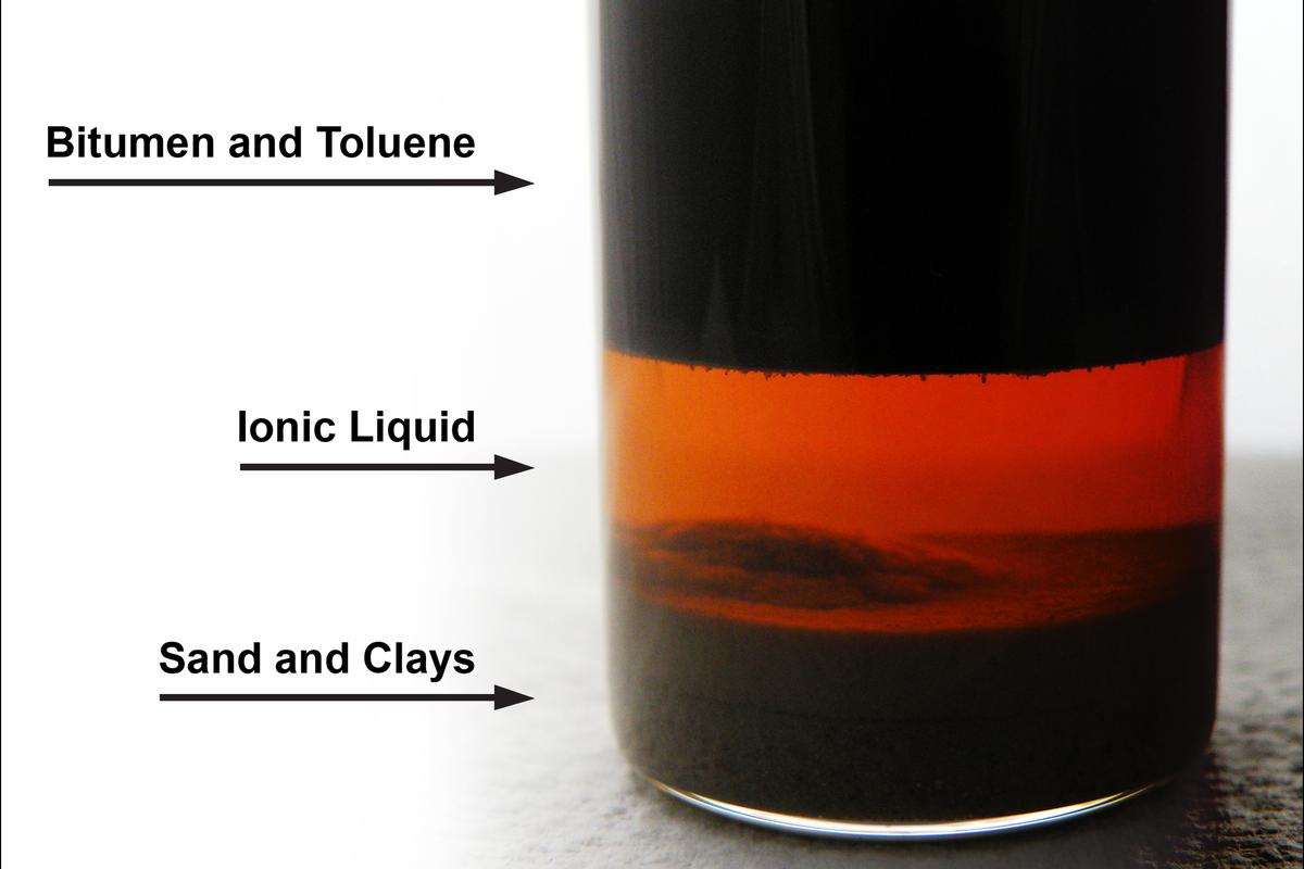 A tar sand sample treated with the ionic liquid process(Photo: Penn State University)