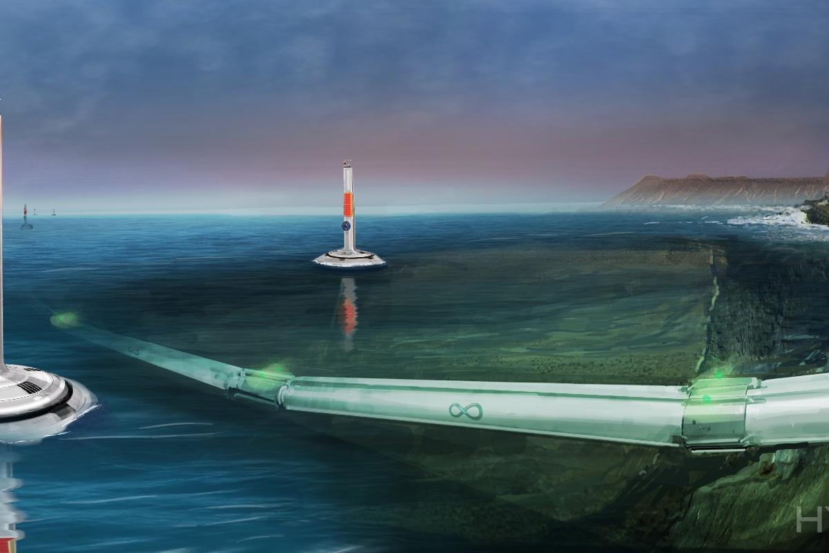 Artist's concept of Hyperloop going underwater