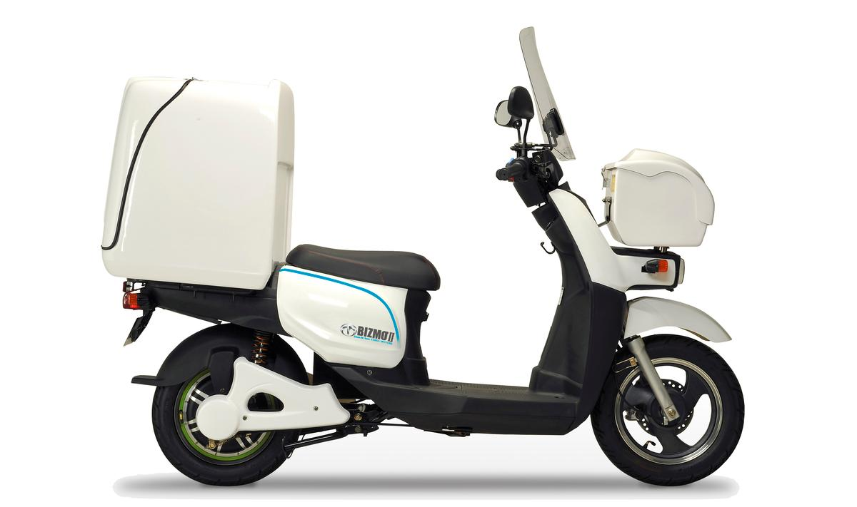 The Bizmo II, from Terra Motors, with large delivery box on the back and a smaller box on the front