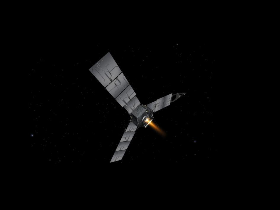 Artist's impression of Juno firing its engine (Image: NASA/Caltech)