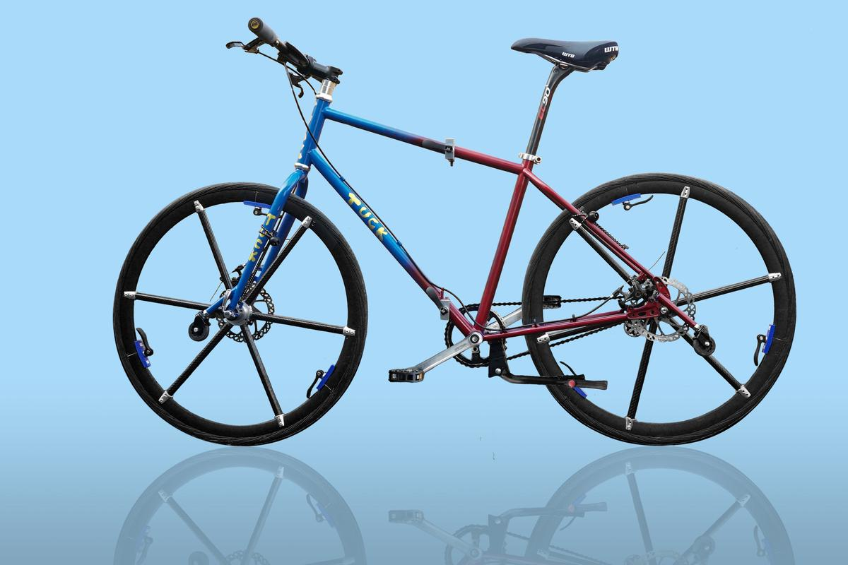 The tuck bike, unfolded and ready to ride