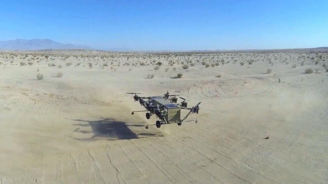 Snapshot from aerial footage of the aircraft in hover filmed by a quadcopter drone