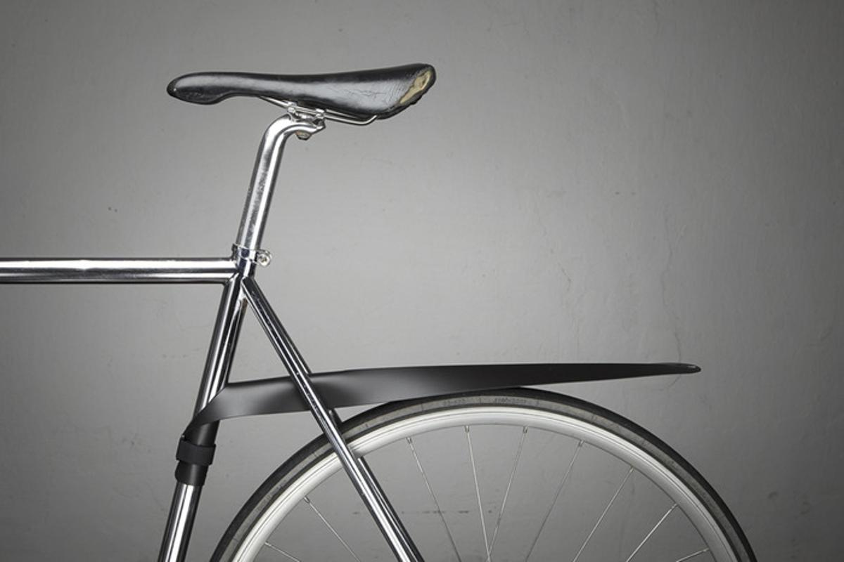 The Musguard is a bicycle mudguard that detaches from the bike and rolls up when not in use
