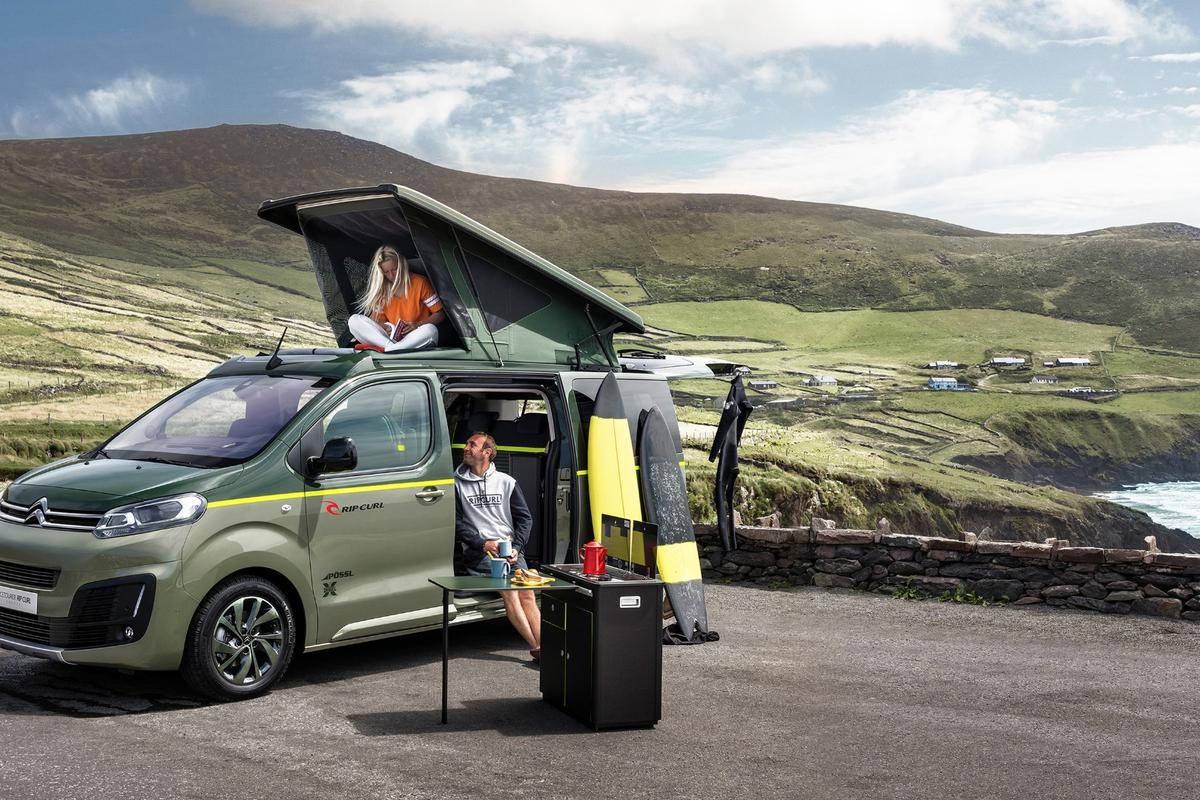 Citroën's SpaceTourer Rip Curl Concept will be shown  at the Frankfurt Motor Show on September 14, 2017, leveraging the brand equity and lifestyle marketing expertise of the original surfwear giant to develop a 4x4 touring camper van for surfing and other outdoor pursuits.