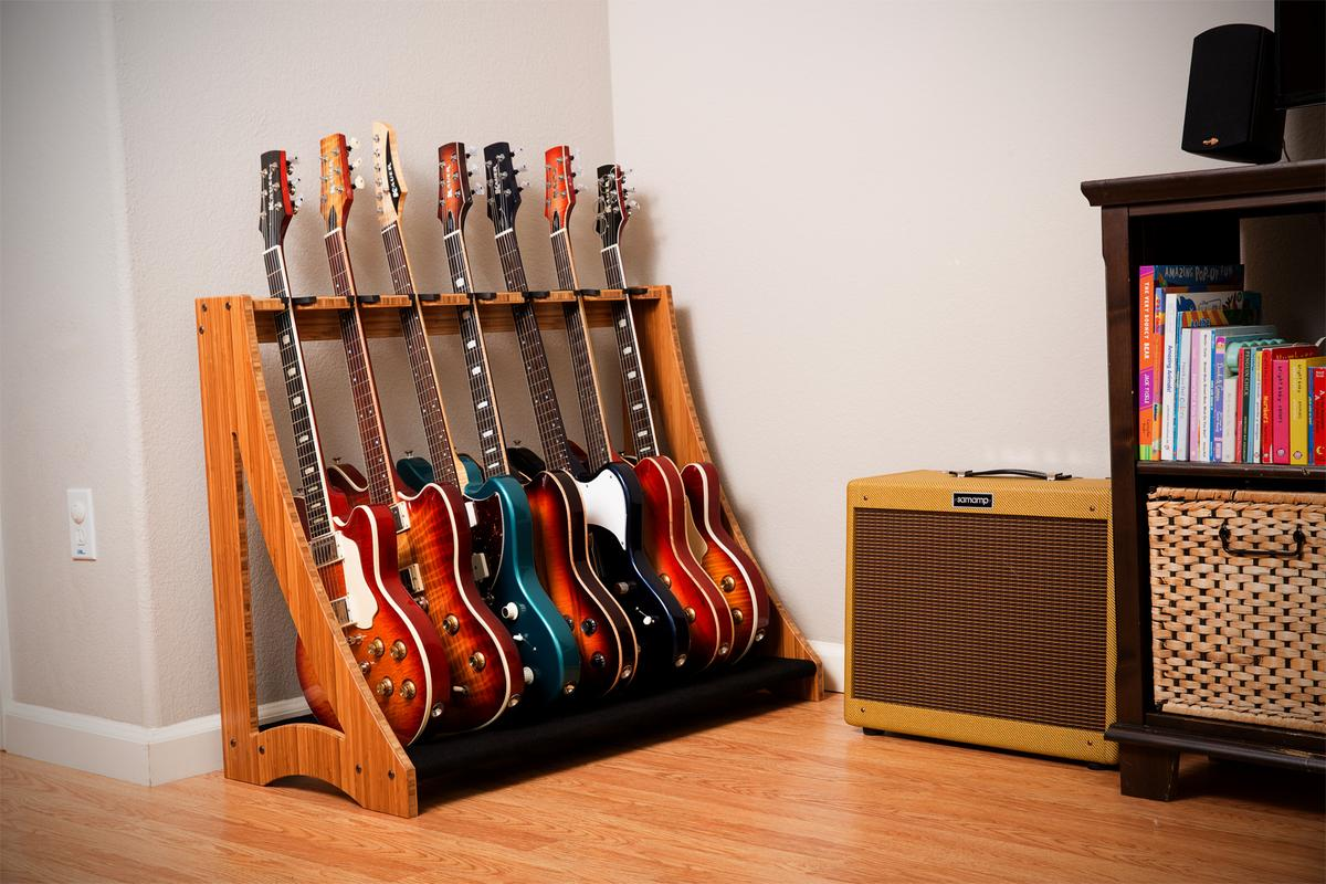 The DRS Racks instrument storage system is modular, stackable and aesthetically-pleasing enough to grace any living room