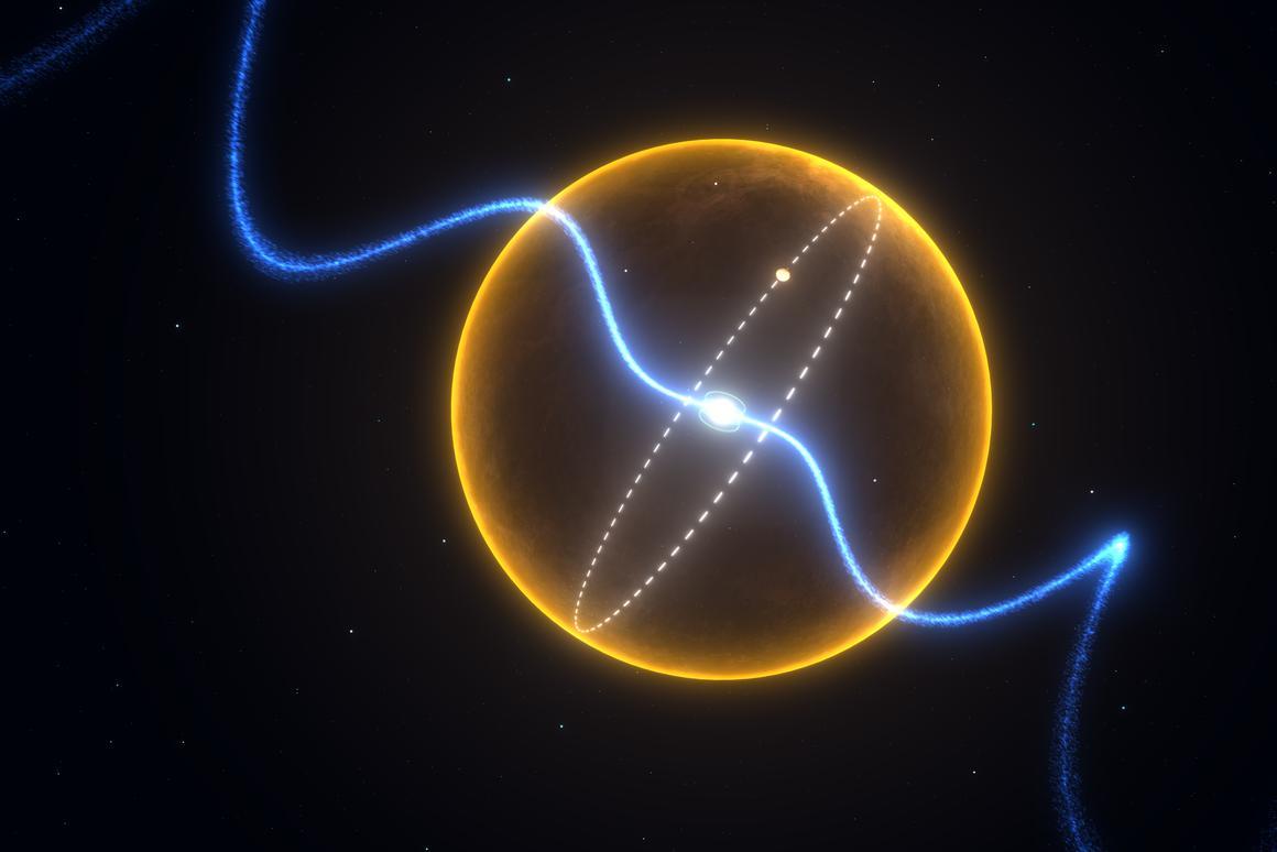 "The ""diamond planet"" orbiting the radio wave-emitting pulsar J1719-1438 (Image: Swinburne Astronomy Productions)"
