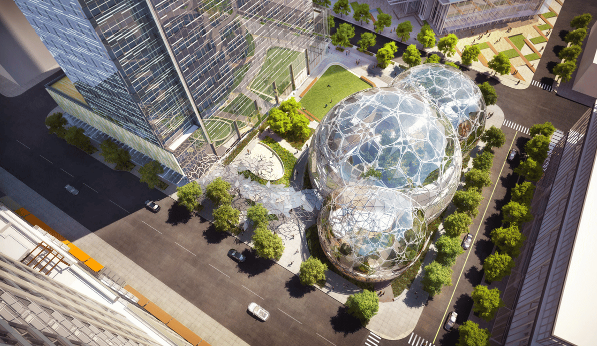 Elevated view of the Amazon domes (Image: NBBJ)