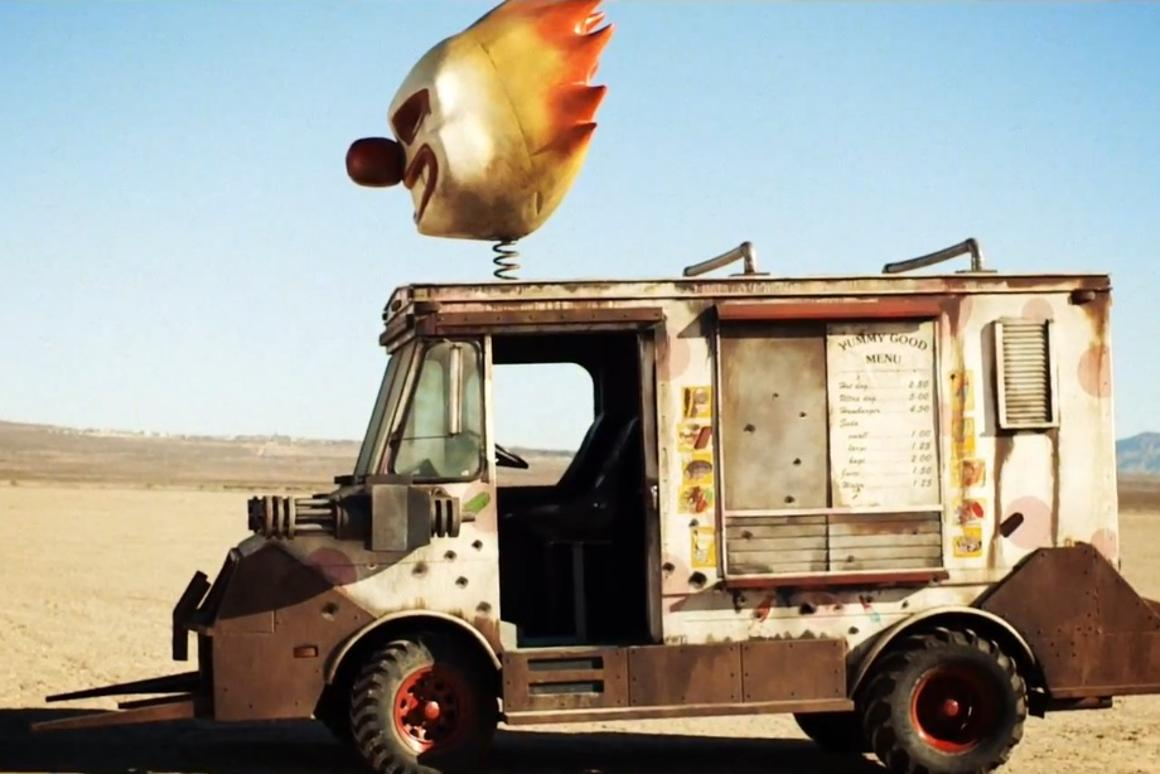 Promoters have driven a Twisted Metal-style ice cream truck into the middle of the desert and aimed an internet-connected M249-SAW machine gun at it