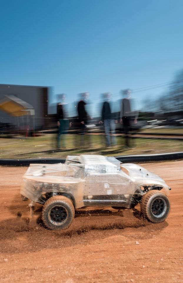 The autonomous rally car uses a clever algorithm to work out what to do in slippery conditions