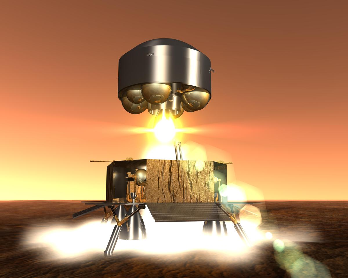 Artist's concept of a sample return mission lifting off from Mars (Image: ESA)