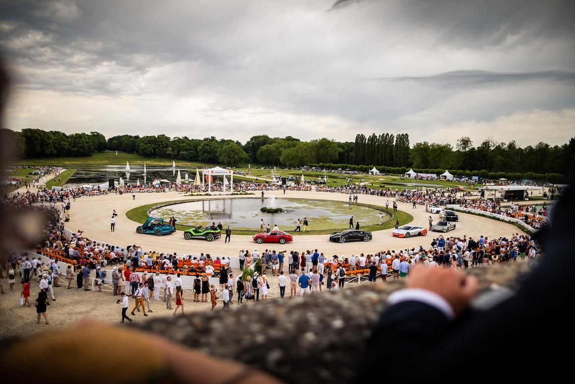 "The stars of the 2019 Chantilly Arts & Elegance Richard Mille, from left to right: the DS X E-Tense; the I.D. Buggy by Volkswagen; the Aston Martin DB4 GT Zagato Continuation; the Bugatti ""Voiture Noire""; the BMW Vision M Next; the McLaren Speedtail; the Renault EZ-Ultimo; and the Lexus Concept LC Cabriolet"