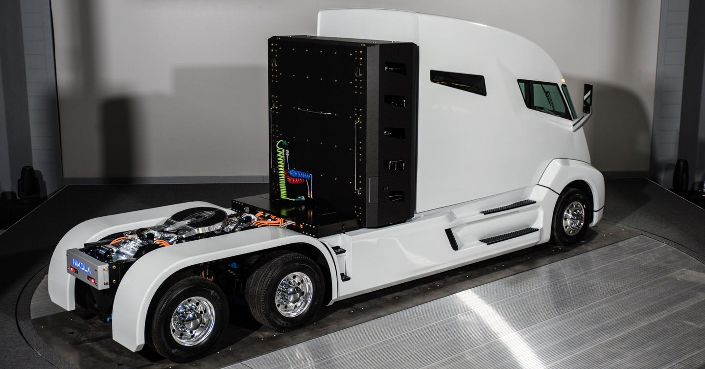 The Nikola One is powered by hydrogen fuel cell technology